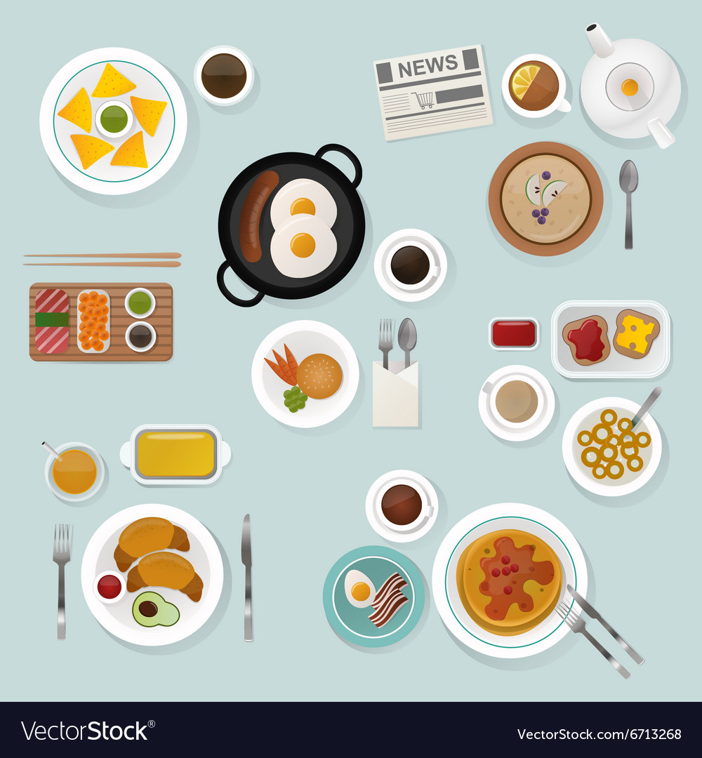 Breakfast flat top view set icons silhouette