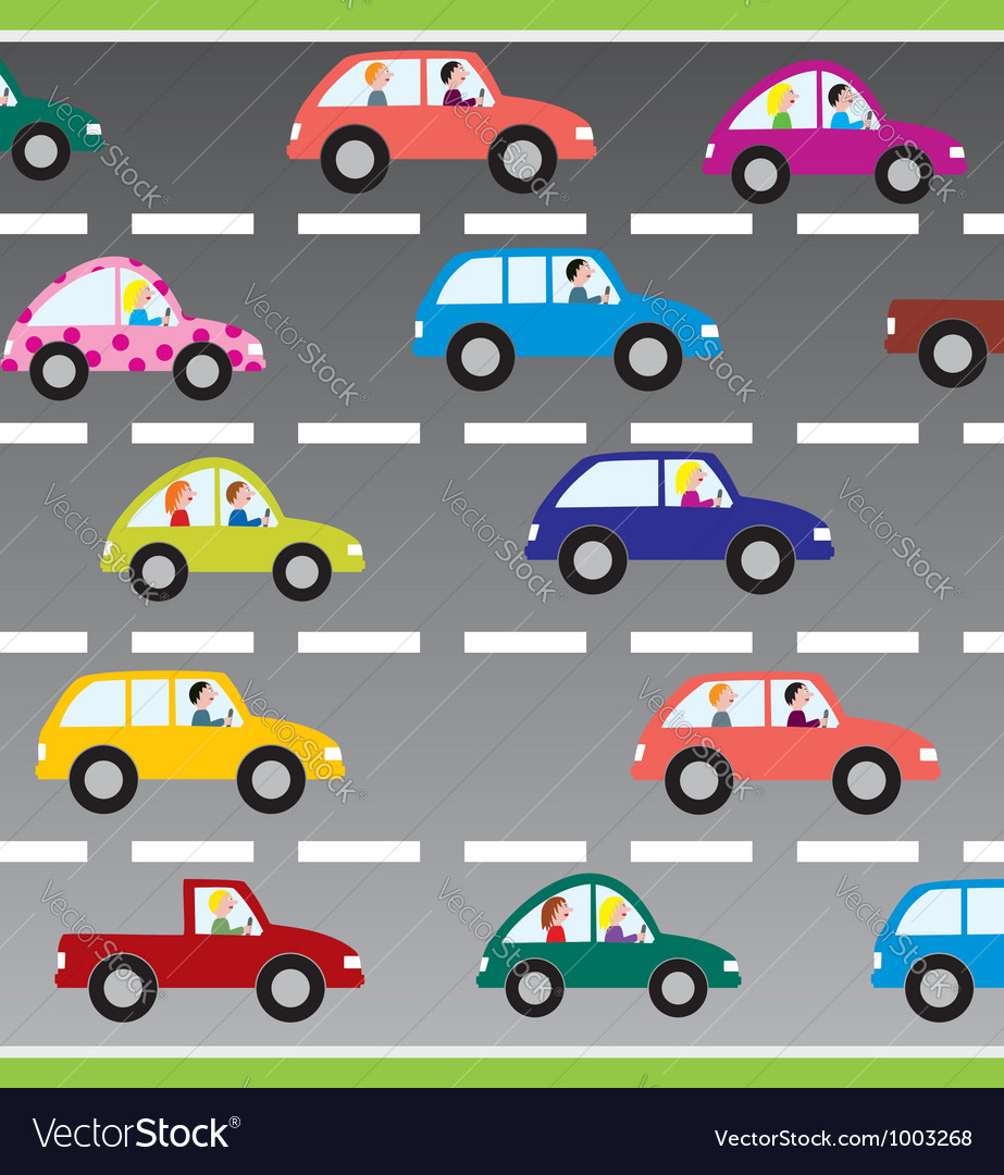 Cars on the road vector image