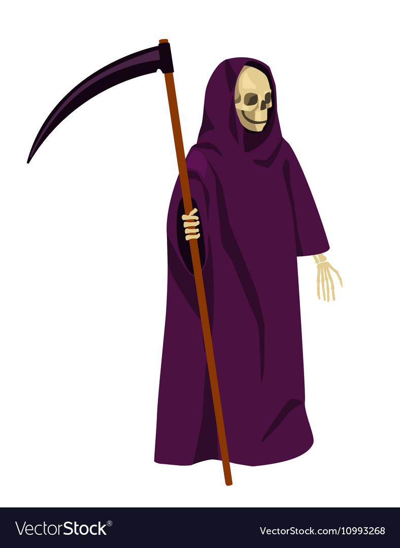 Cartoon death with a scythe isolated on white