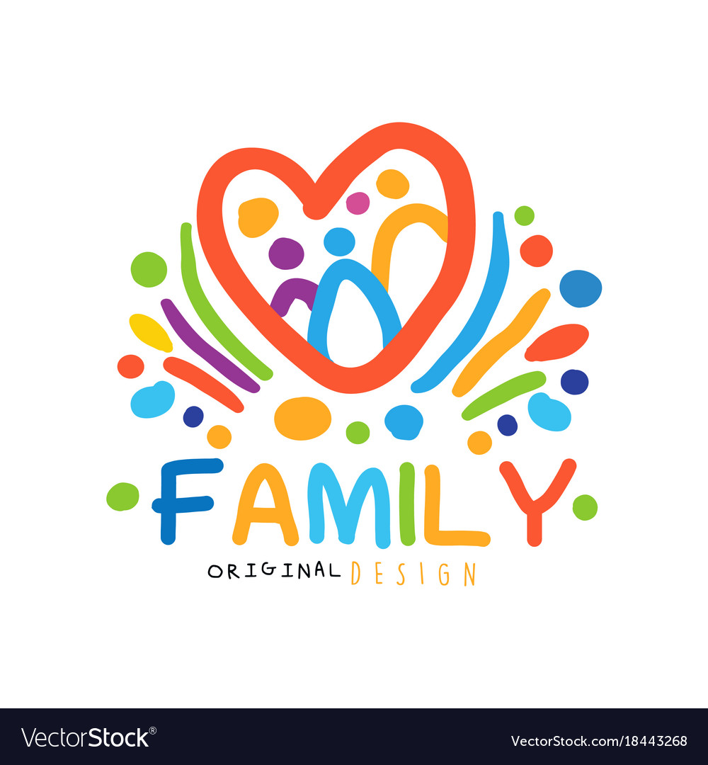 Colorful happy family logo with abstract people in
