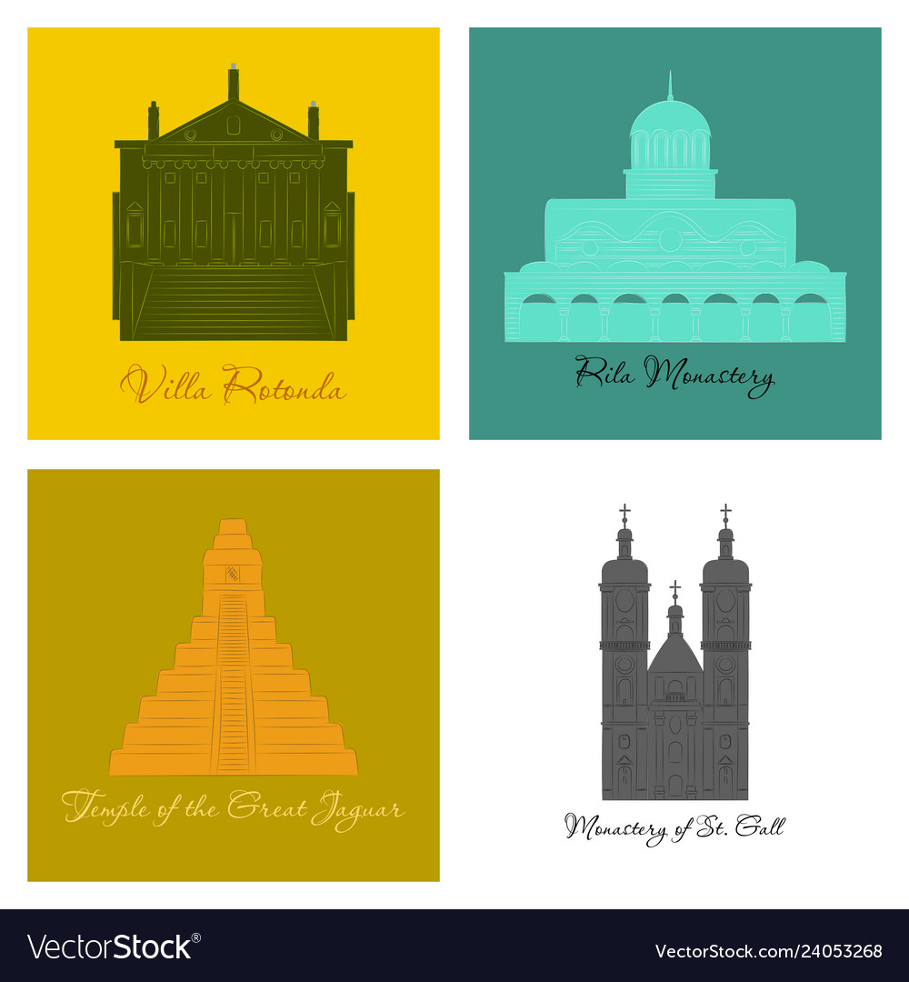 Famous place and monument around the world vector image