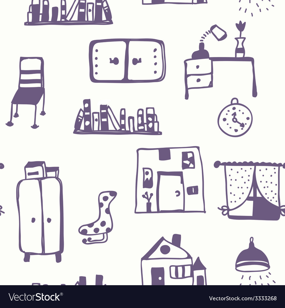 Furniture set seamless pattern vector image