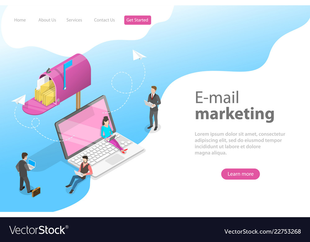 Isometric landing page template for e-mail