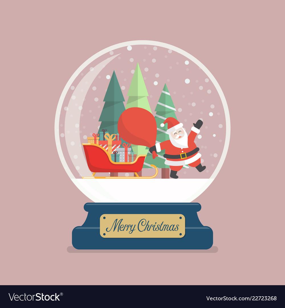 Merry christmas glass ball with santa holding