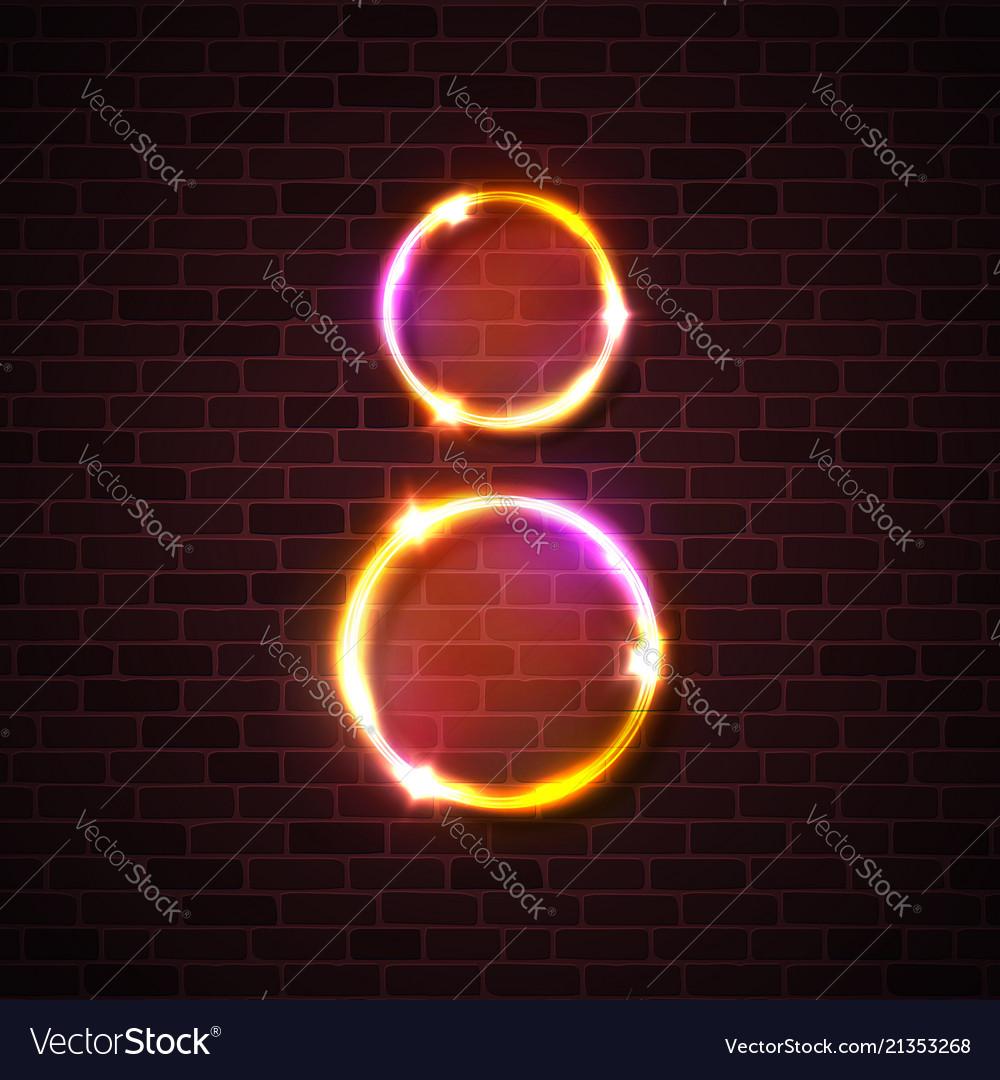 Neon light led lamp sign circle design on brick
