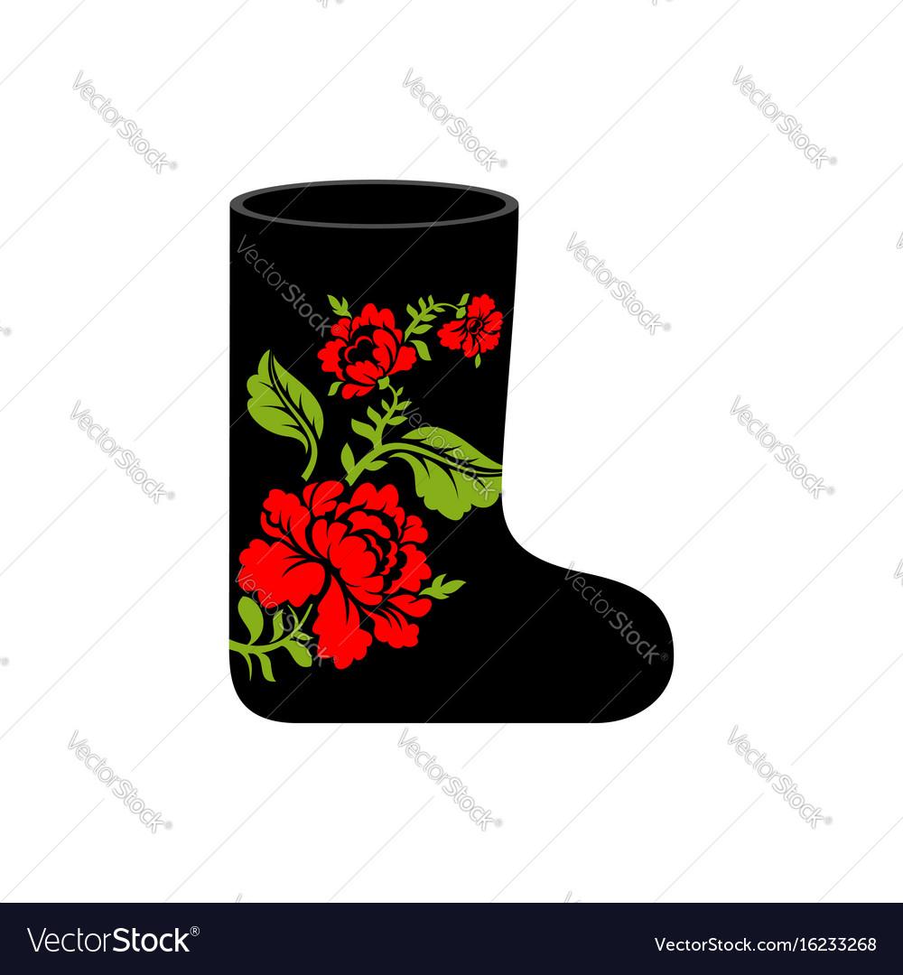 Russian winter boots valenki khokhloma painting