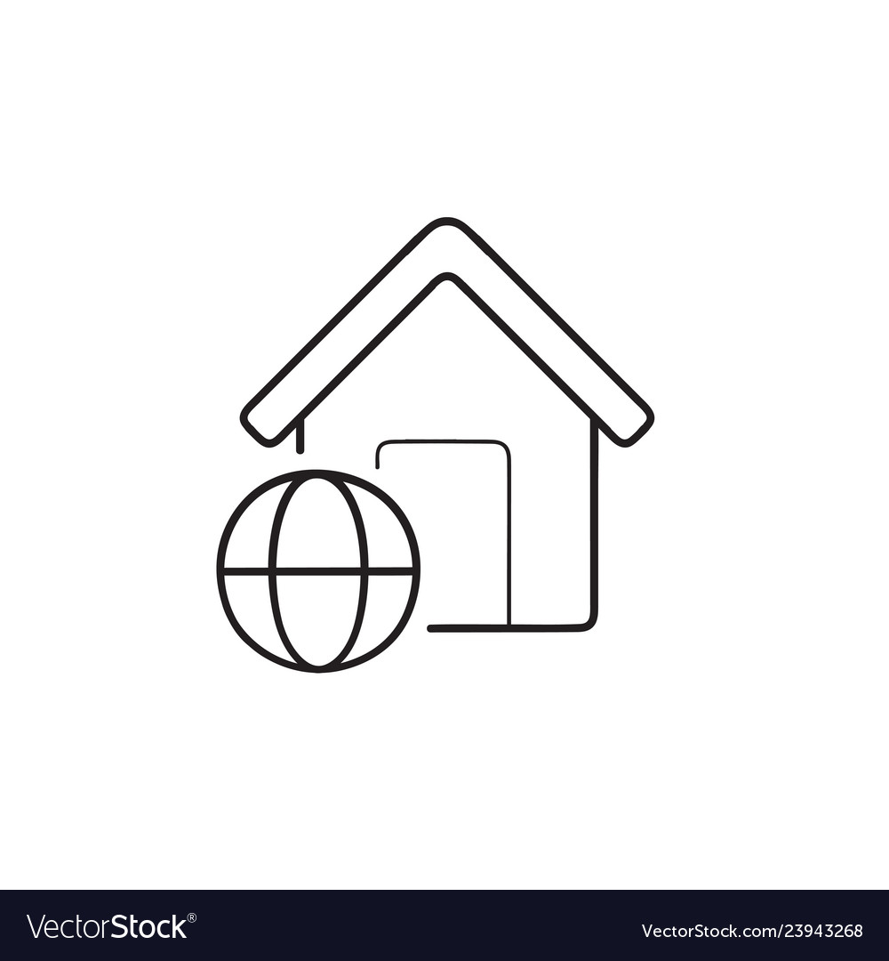 Smart home with internet hand drawn outline doodle