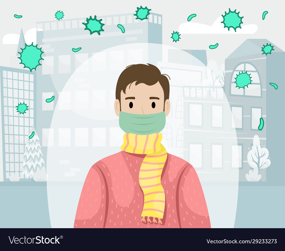 A man in a protective medical mask protects