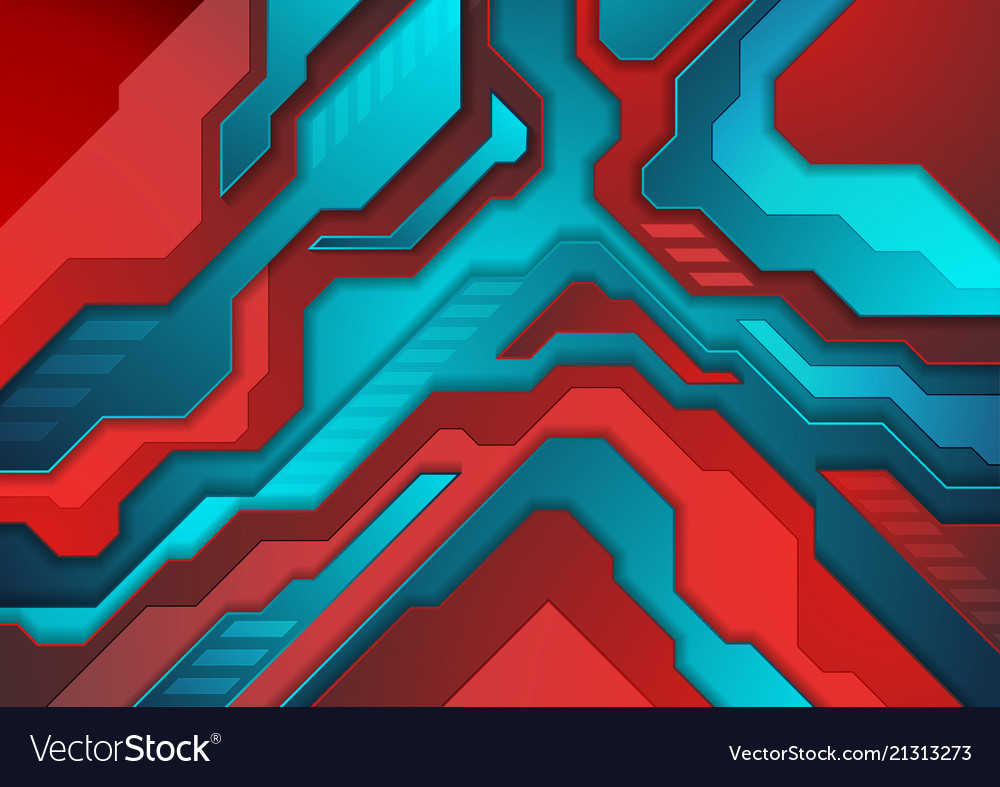 Blue red abstract technology background