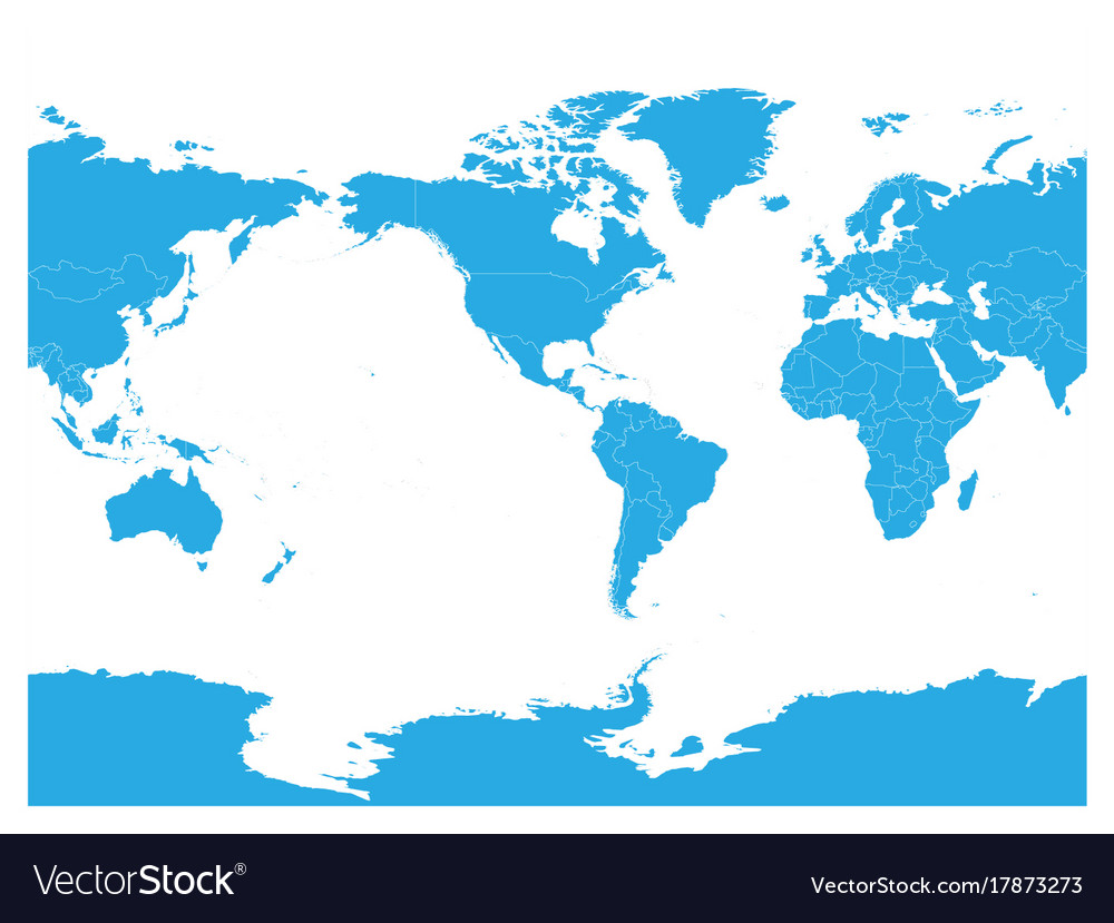 Blue World Map High Detail America Centered Vector Image