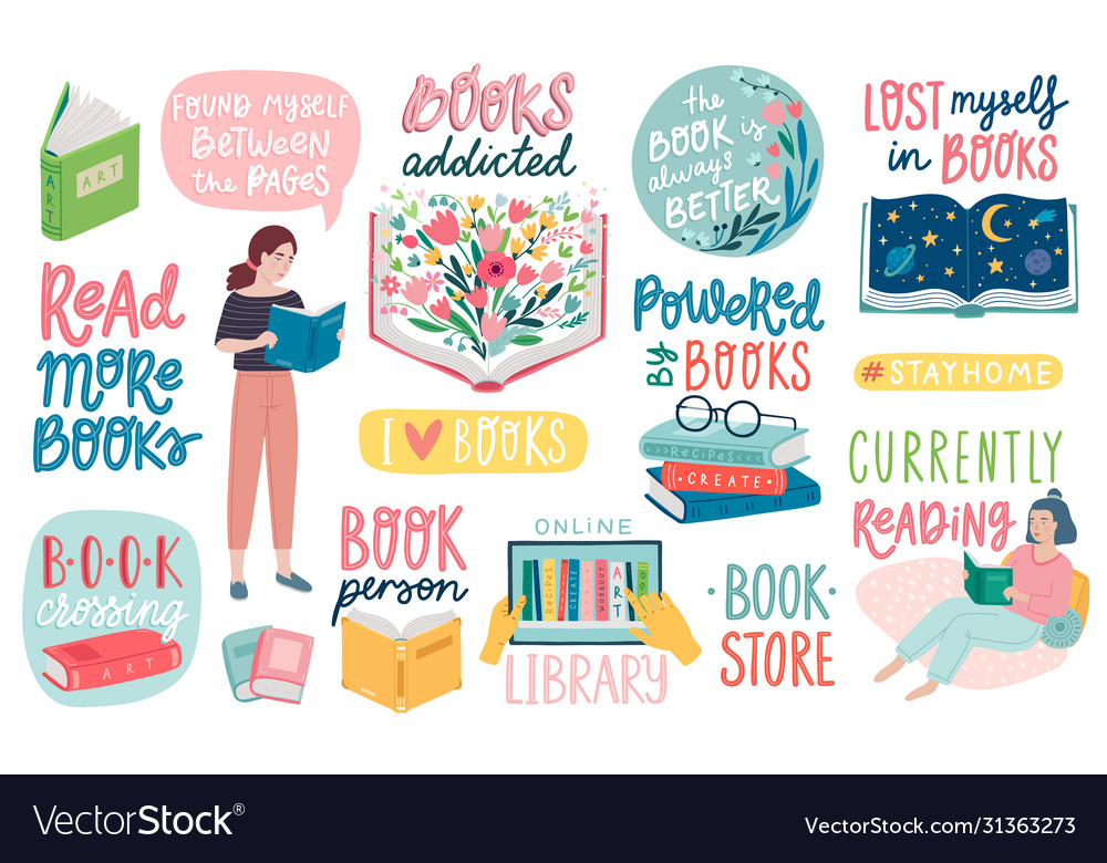 Books letterings reading people and other