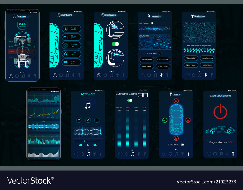 Control car app mobile interface screens