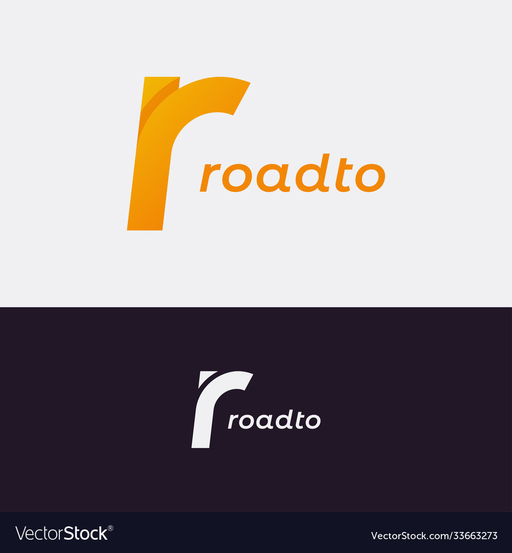 Letter r logo road concept with letter r