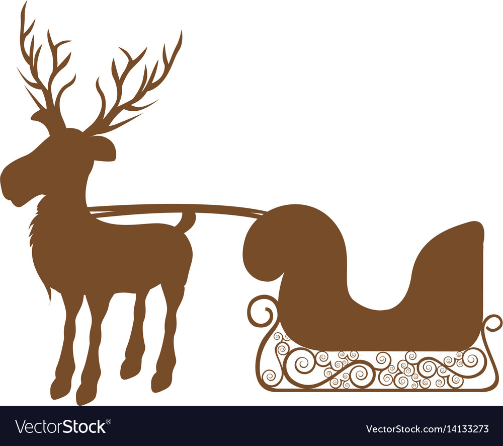 Monochrome silhouette of reindeer with sleigh vector image
