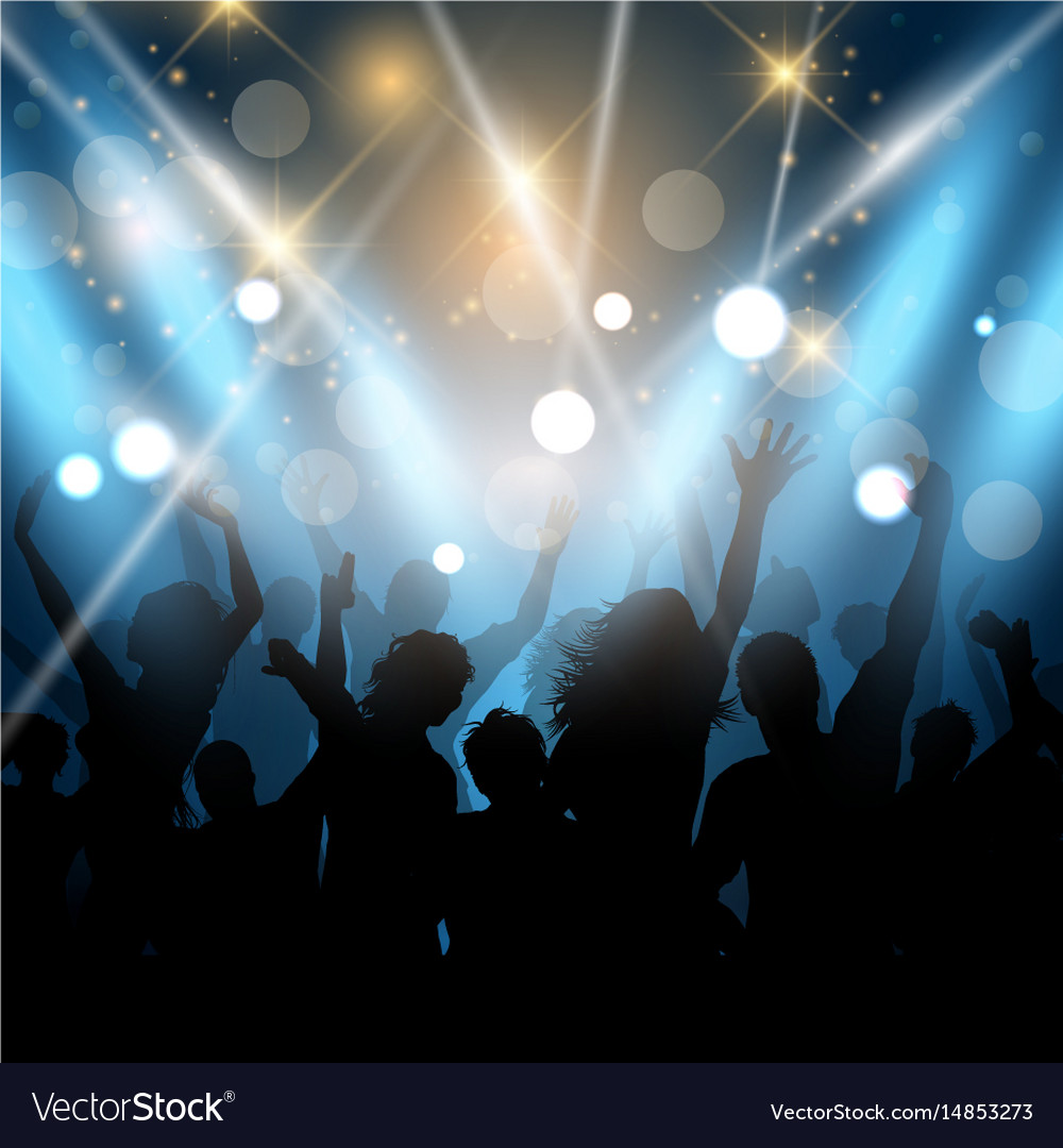 Party people on a spotlights background vector image
