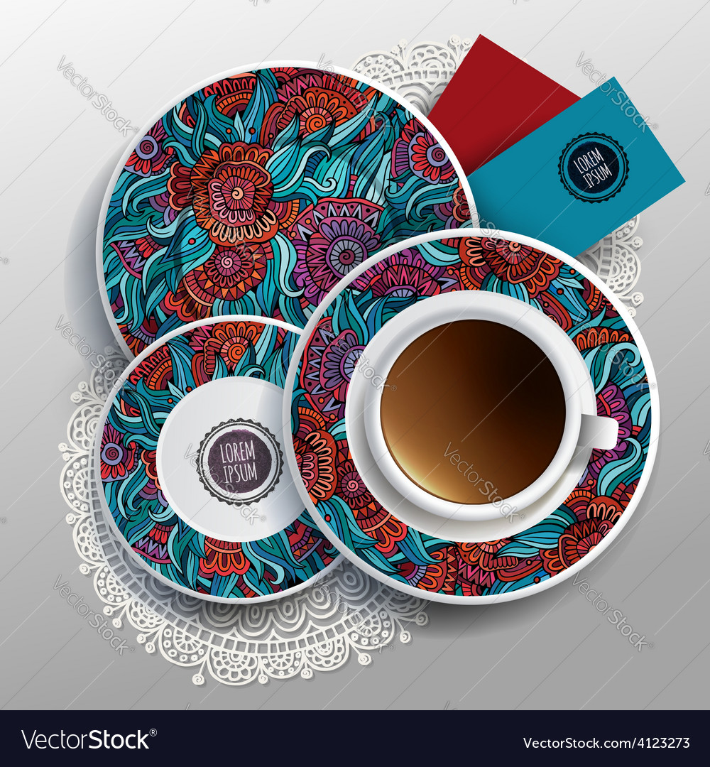 Plates And Cup Of Coffee Vector Image