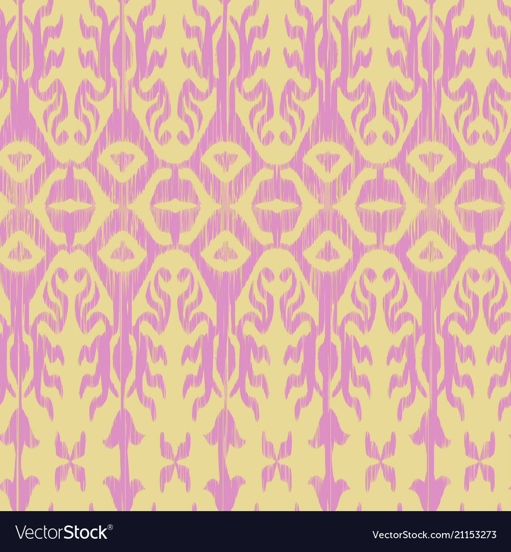 Seamless ikat pattern pink vector image