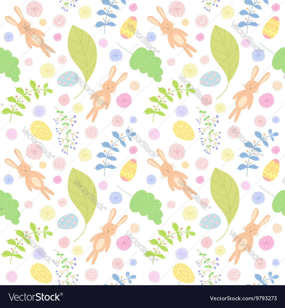 Seamless pattern with cute rabbits Easter