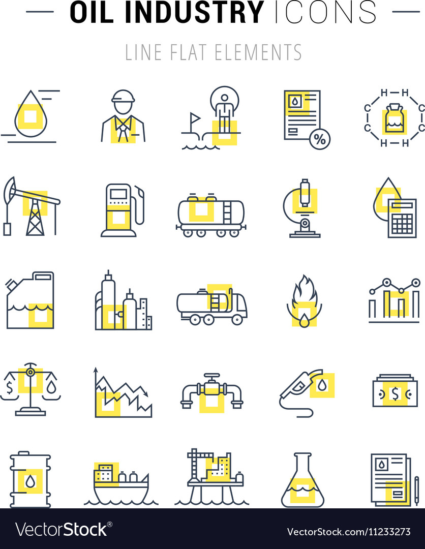 Set Flat Line Icons Oil Industry