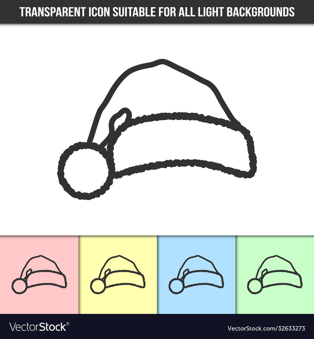 Simple outline transparent santa hat silhouette