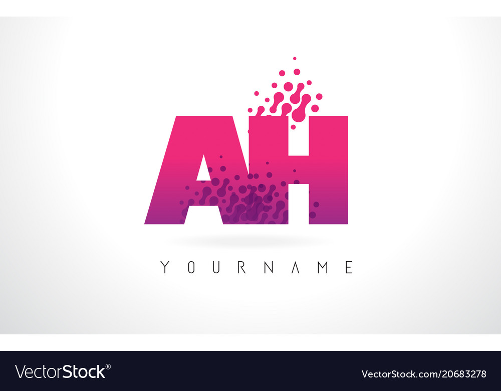 Ah a h letter logo with pink purple color