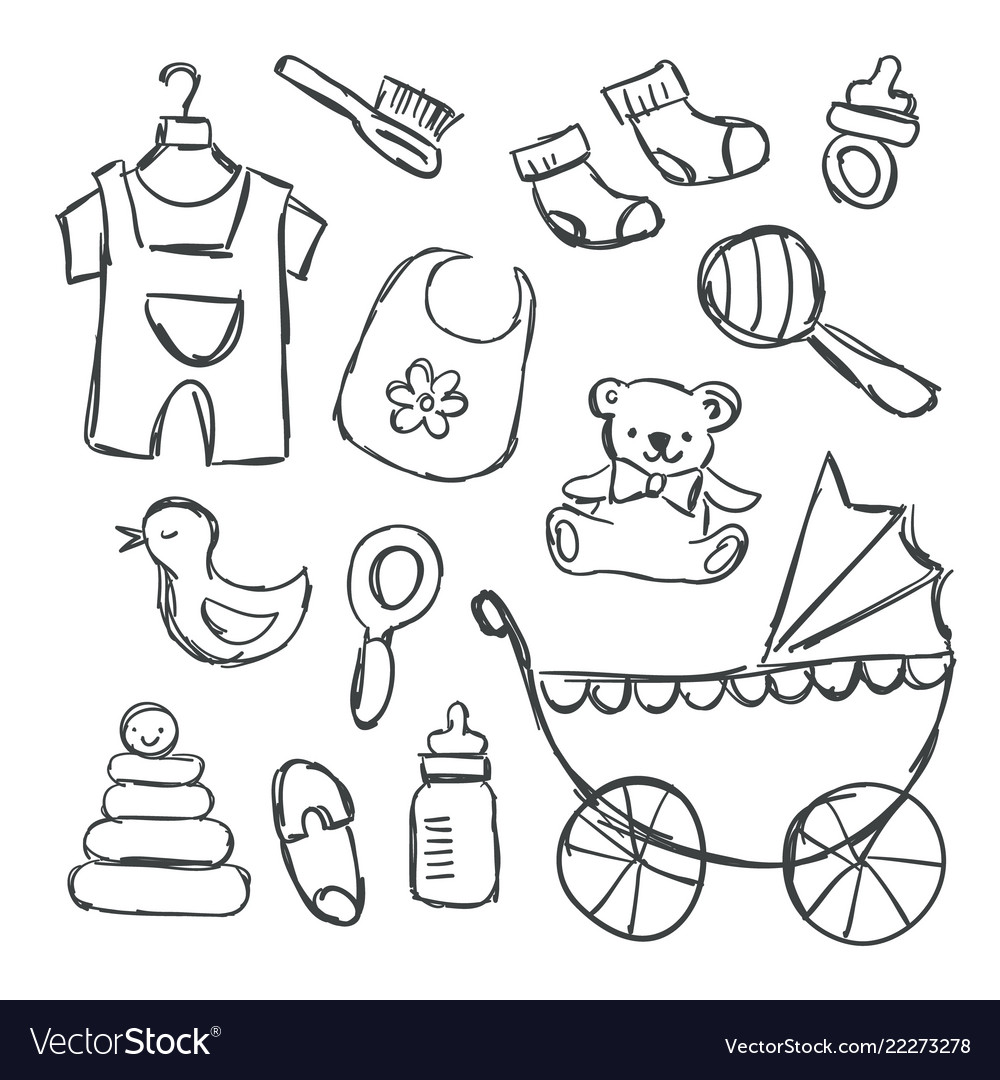 Baby shower items doodles Royalty Free Vector Image