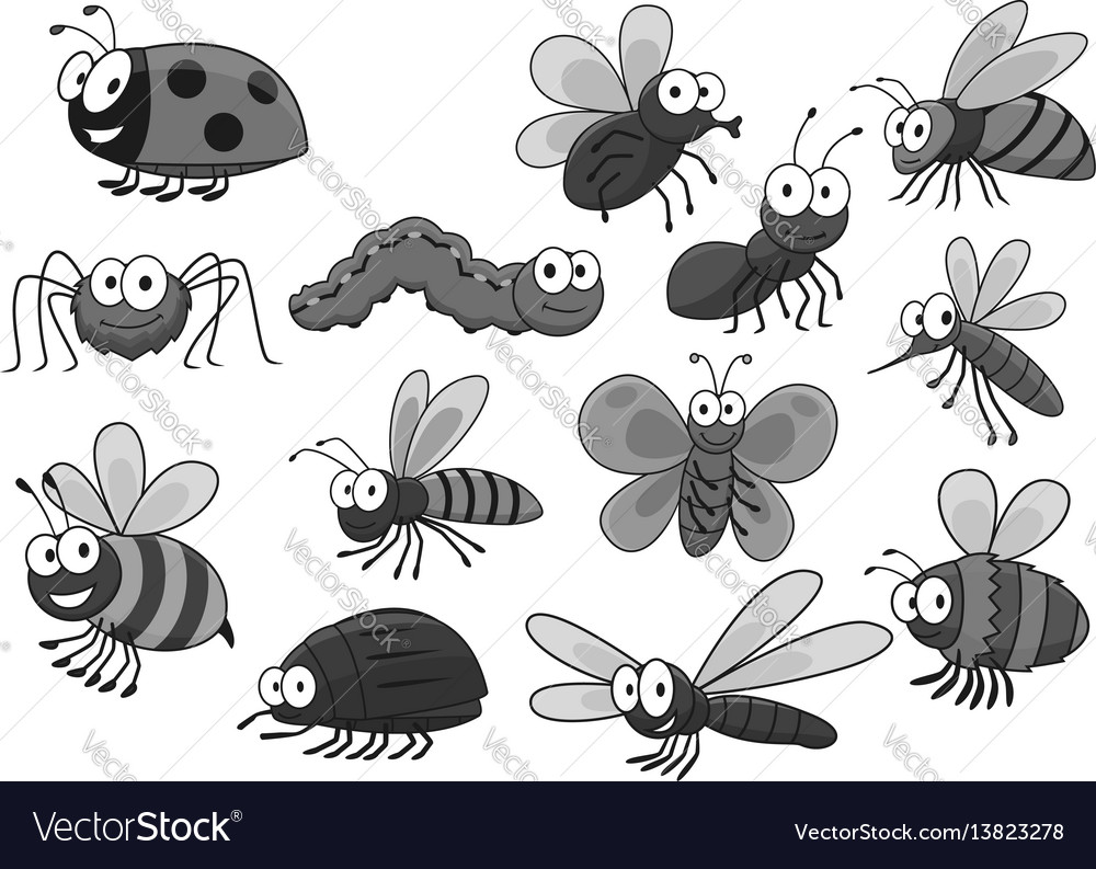 Cartoon insects and bugs icons set