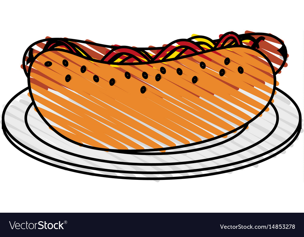 Color crayon stripe cartoon hot dog on plate fast