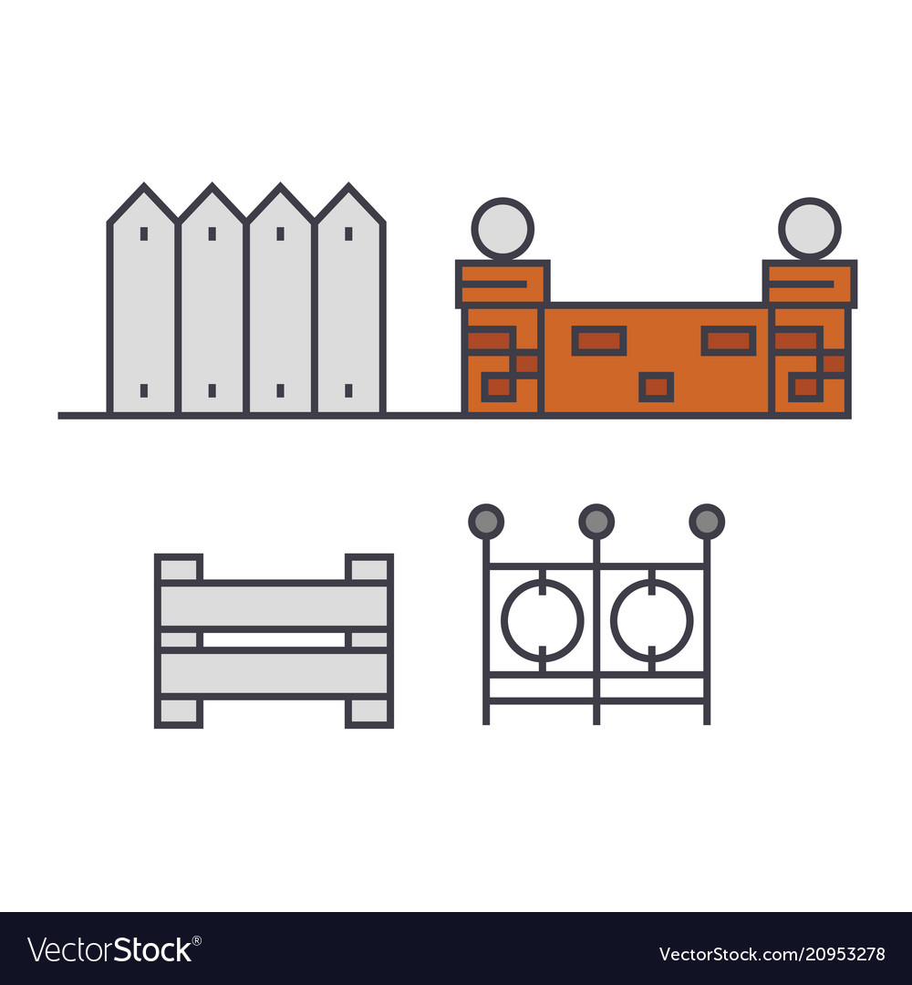 Fences line icon concept fences flat sign