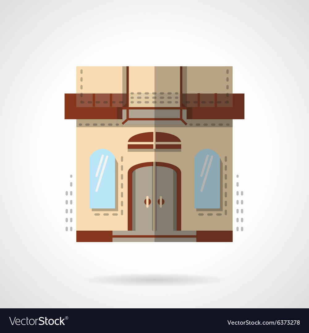 Flat color store icon vector image