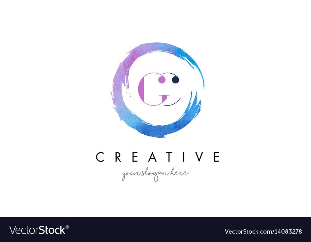 Gc letter logo circular purple splash brush