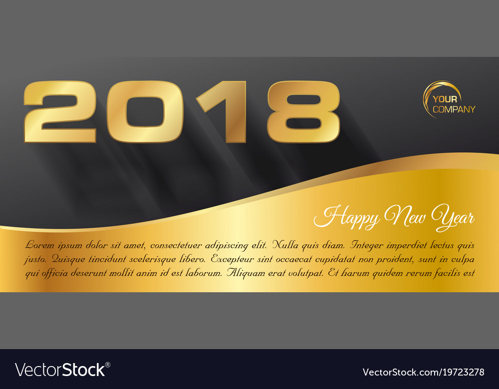 happy new year 2018 banner in gold vector image