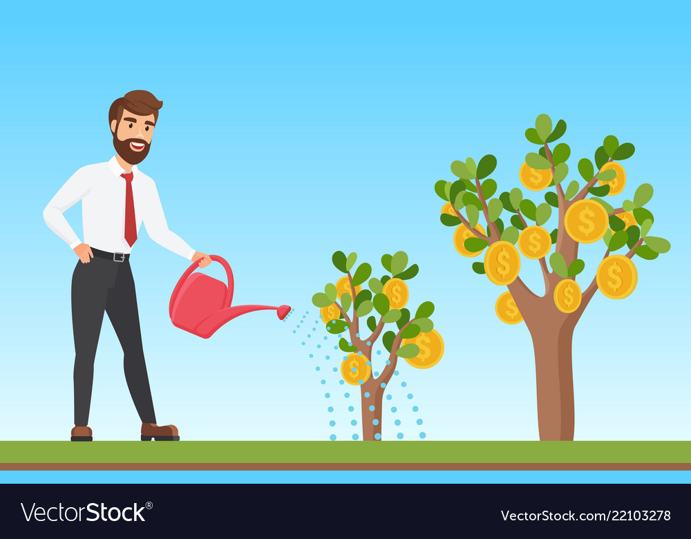 Happy stylish businessman watering a money tree