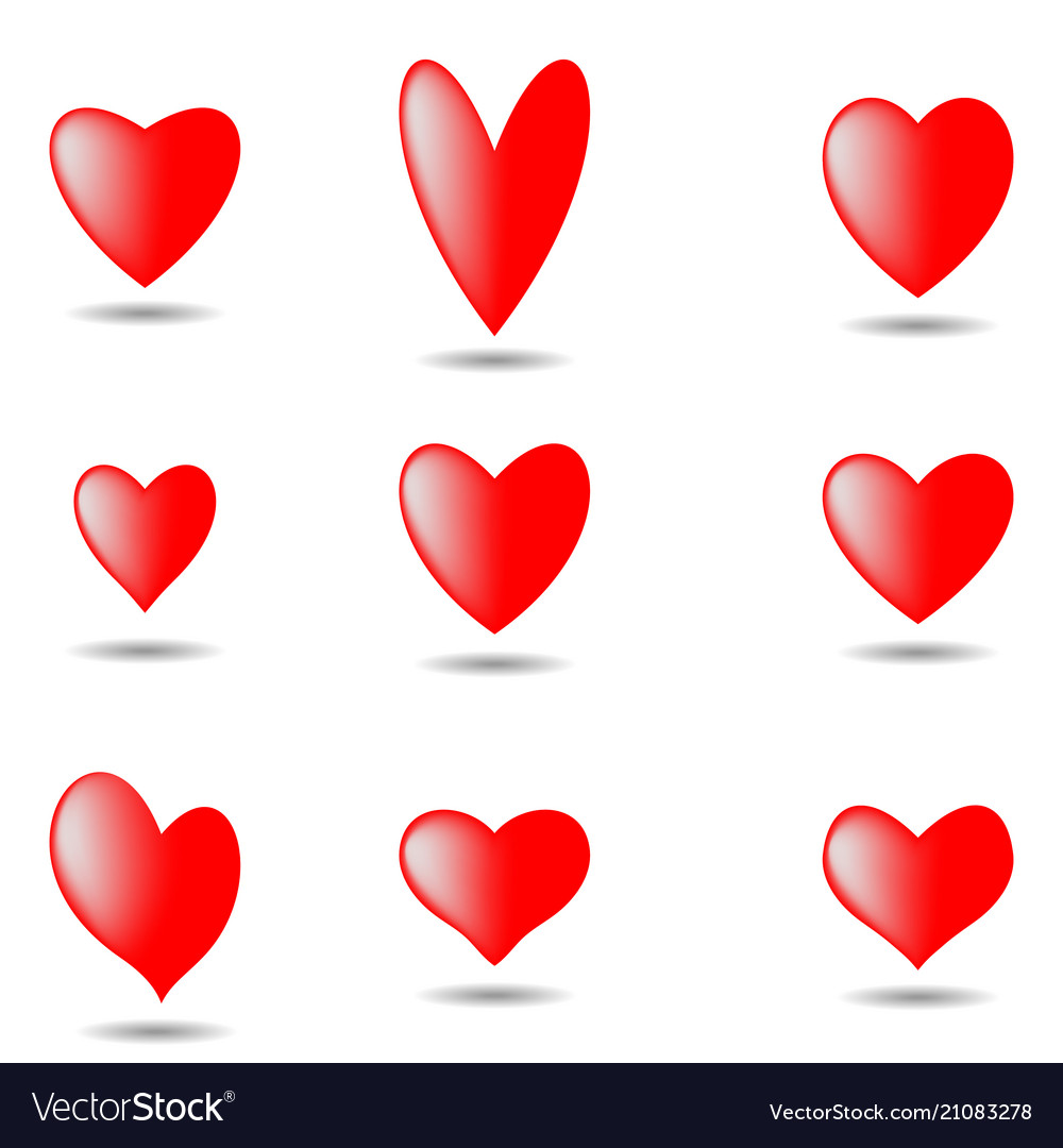 Hearts set for valentine day isolated on white bac