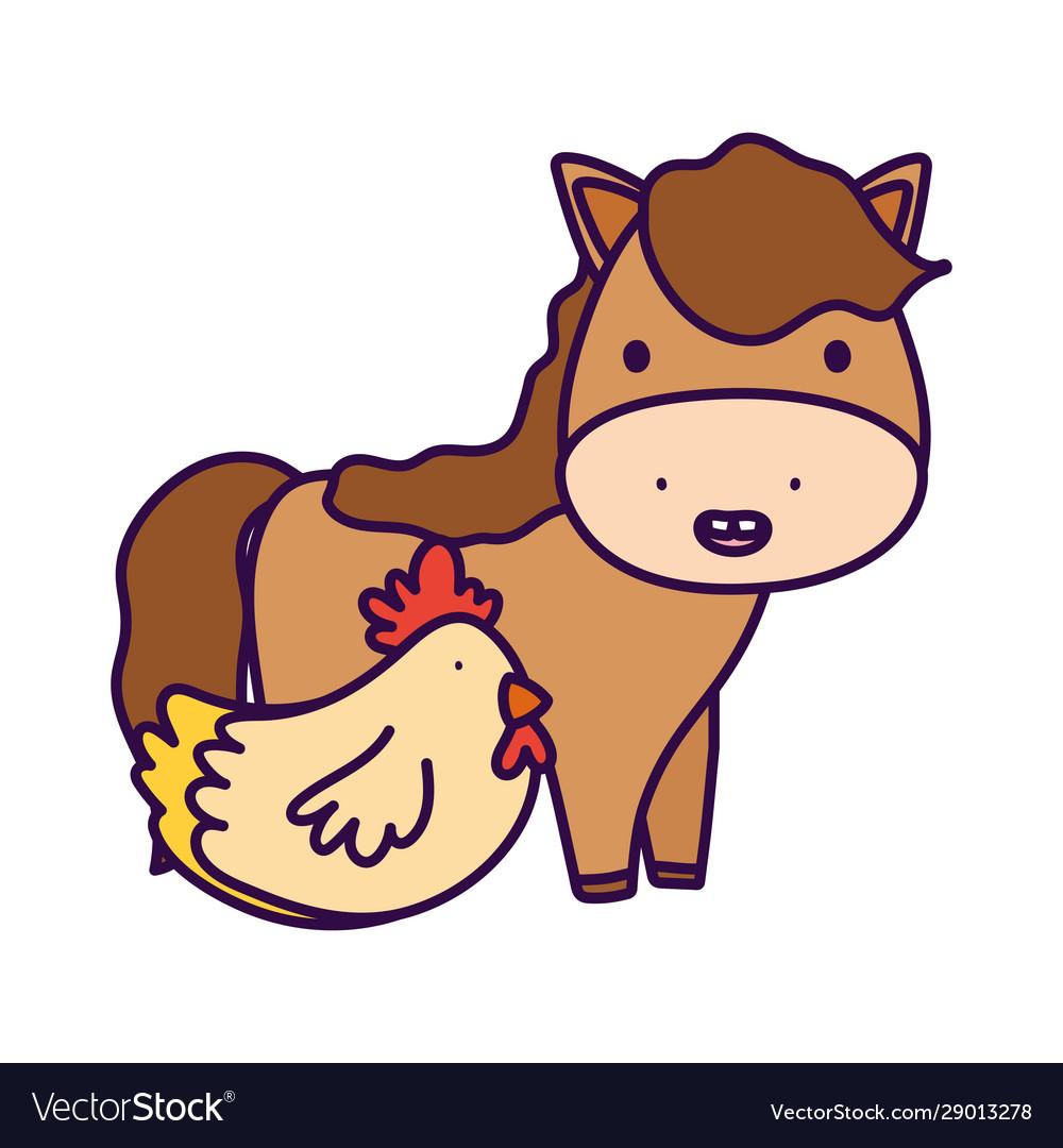 Horse And Hen Farm Animal Cartoon Royalty Free Vector Image