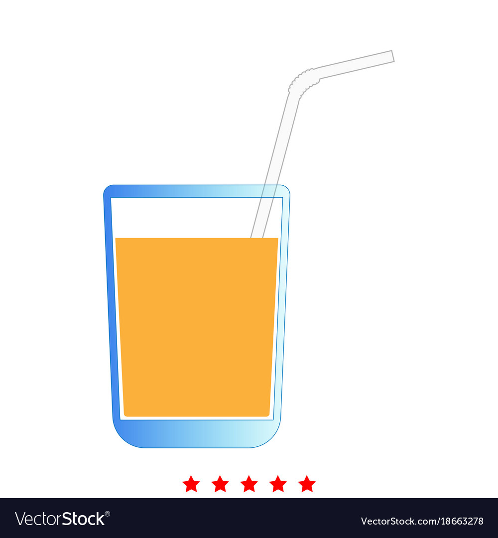 Juice glass with drinking straw icon flat style