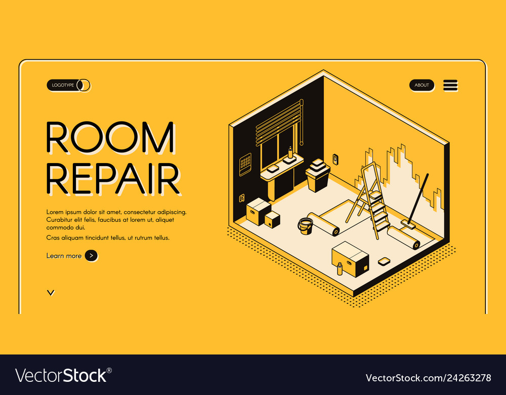 Room repair service isometric website