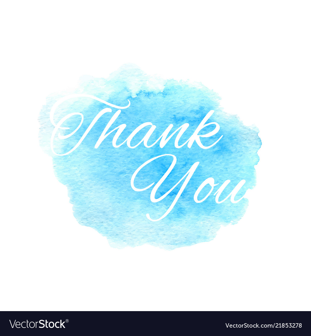 Thank you text on the hand drawn watercolor blue