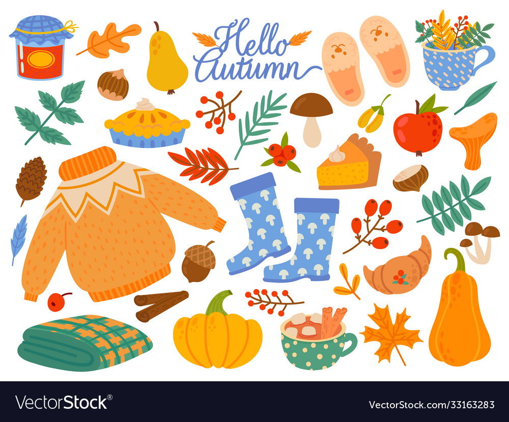 Autumn elements falling leaves yellow plants and