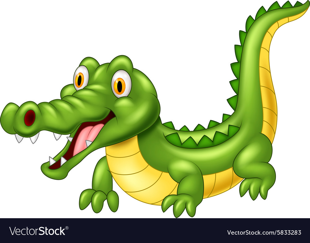 Cartoon crocodile with a happy face and a happy re vector image
