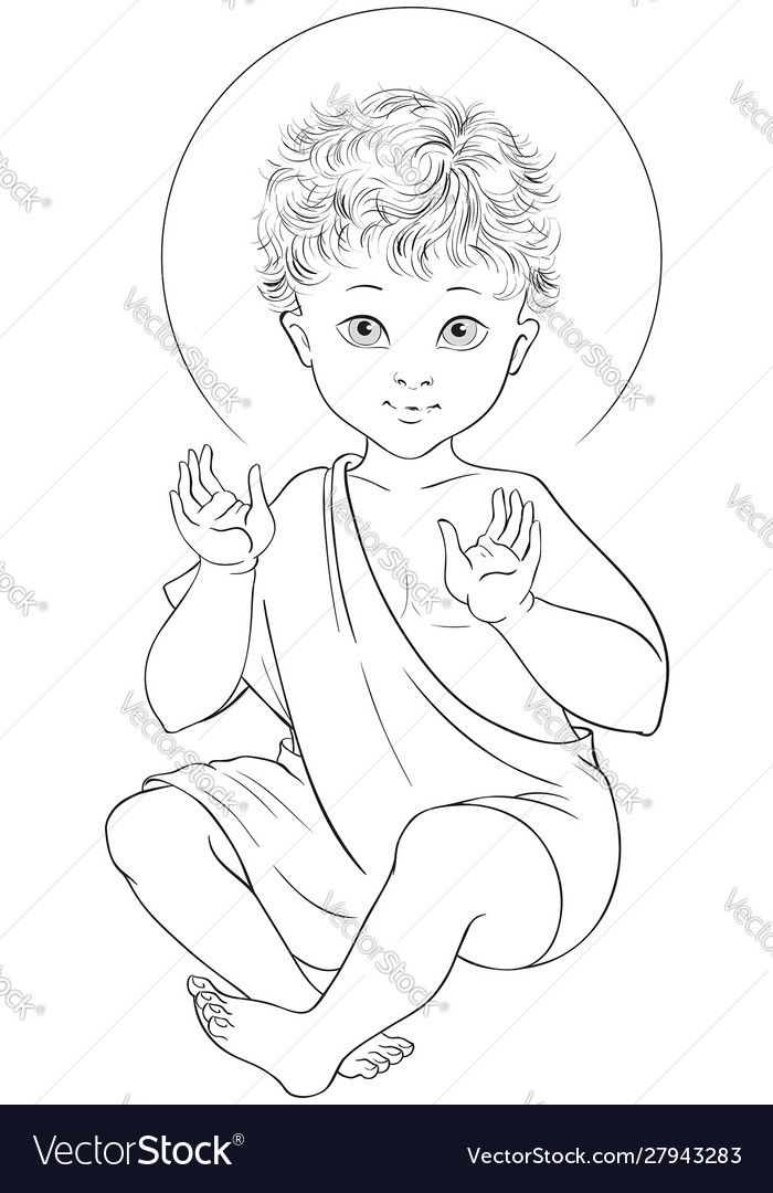 Child jesus seated cartoon coloring page