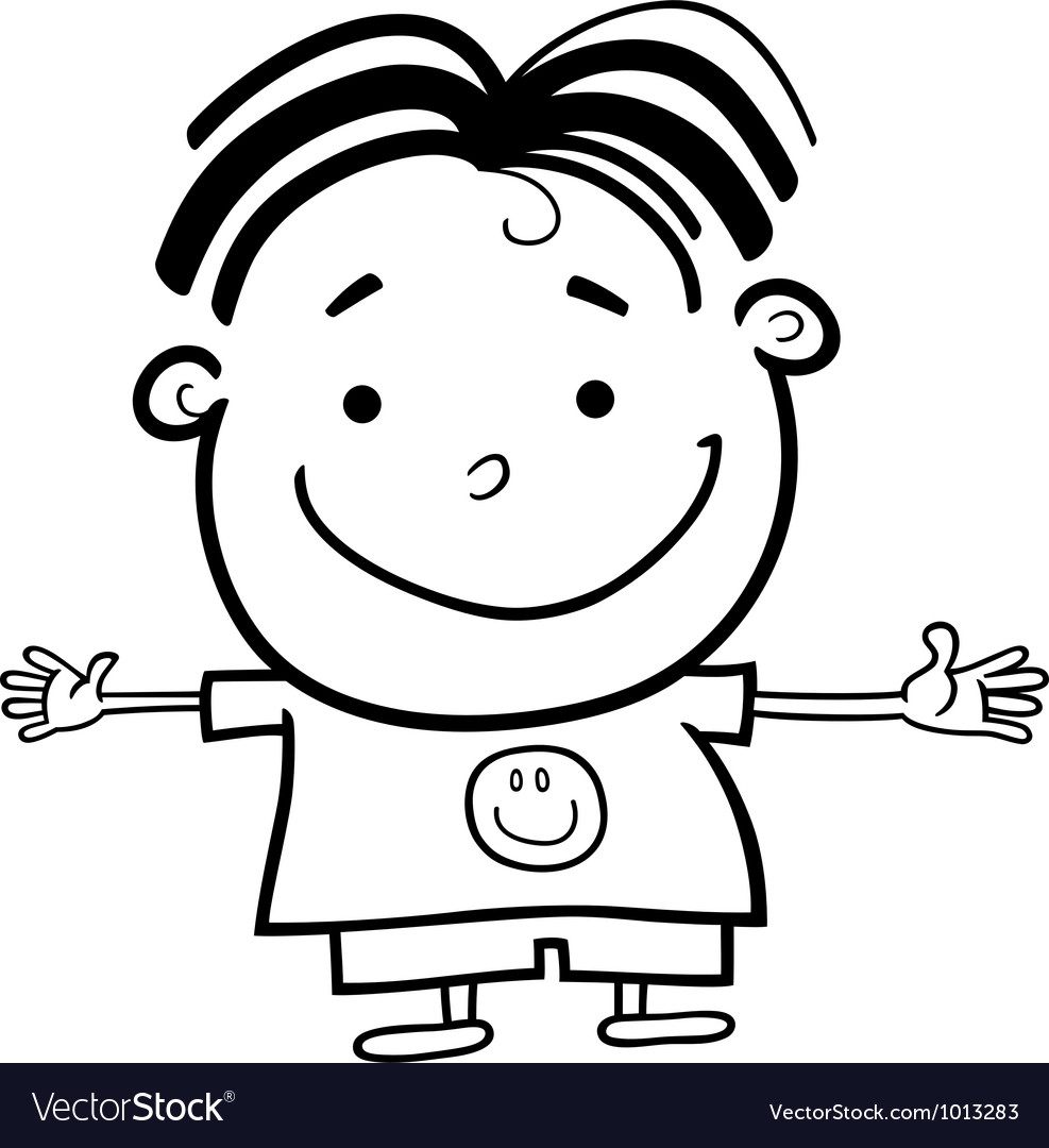 Cute Little Happy Boy For Coloring Vector Image
