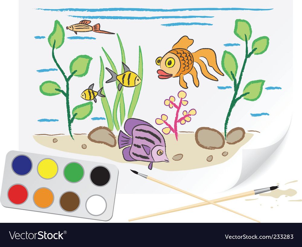 Drawing aquarium vector image