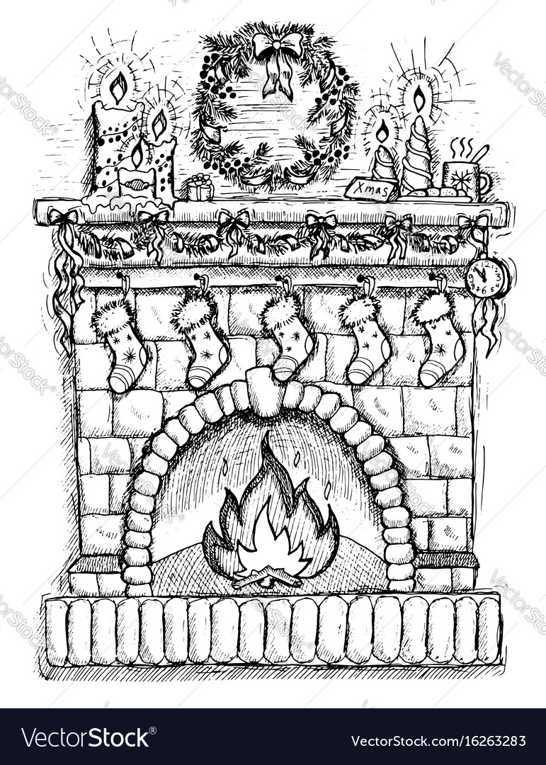 Christmas Drawing.Drawing Of Fire Place With Christmas Decorations