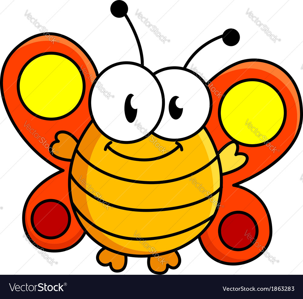 fat butterfly cartoon royalty free vector image