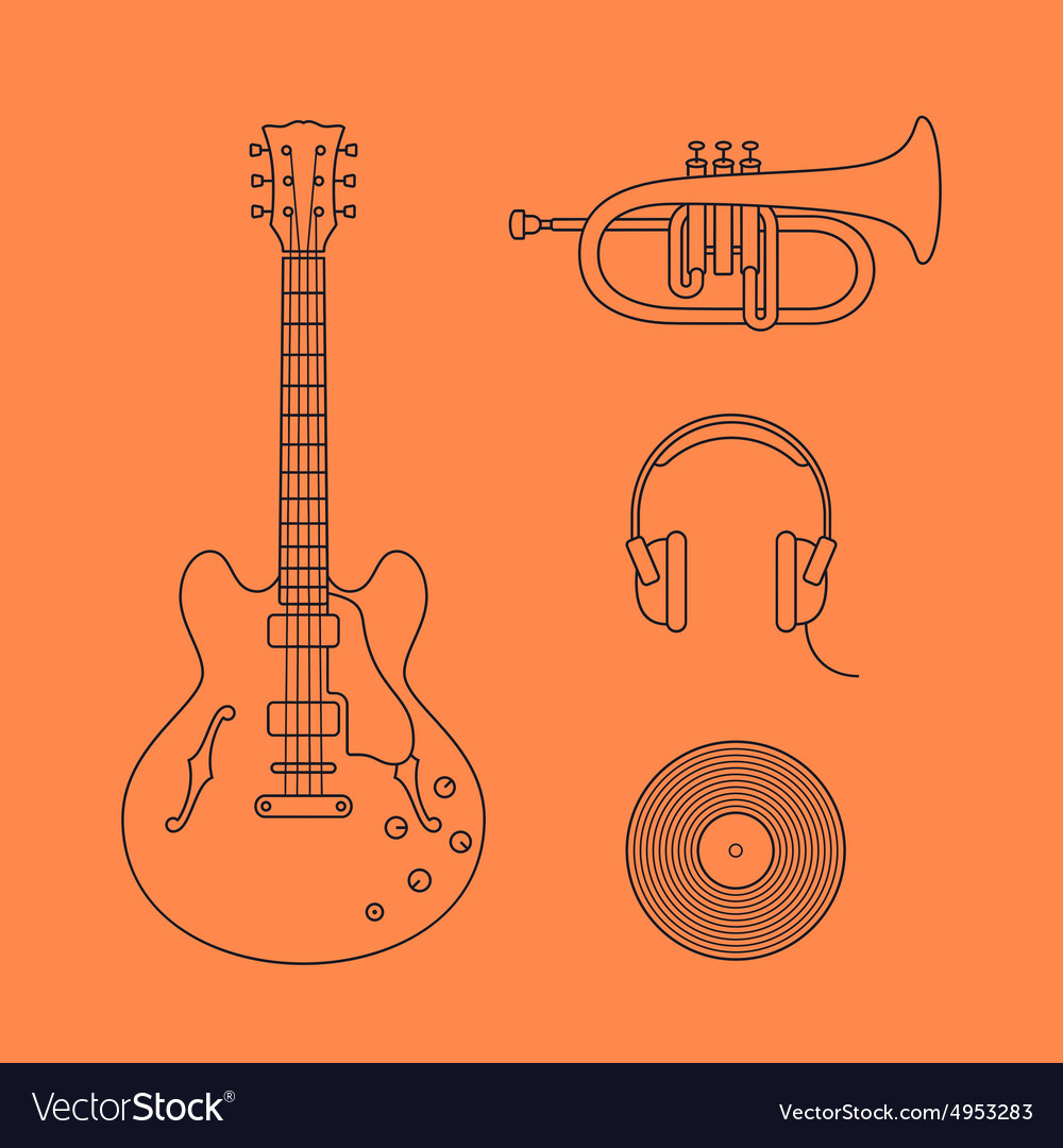 Flat icons of guitar