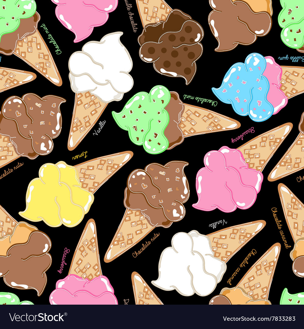Flavoured ice creams in a seamless pattern vector image