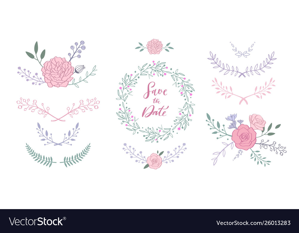 Floral set with bouquet with rose peony