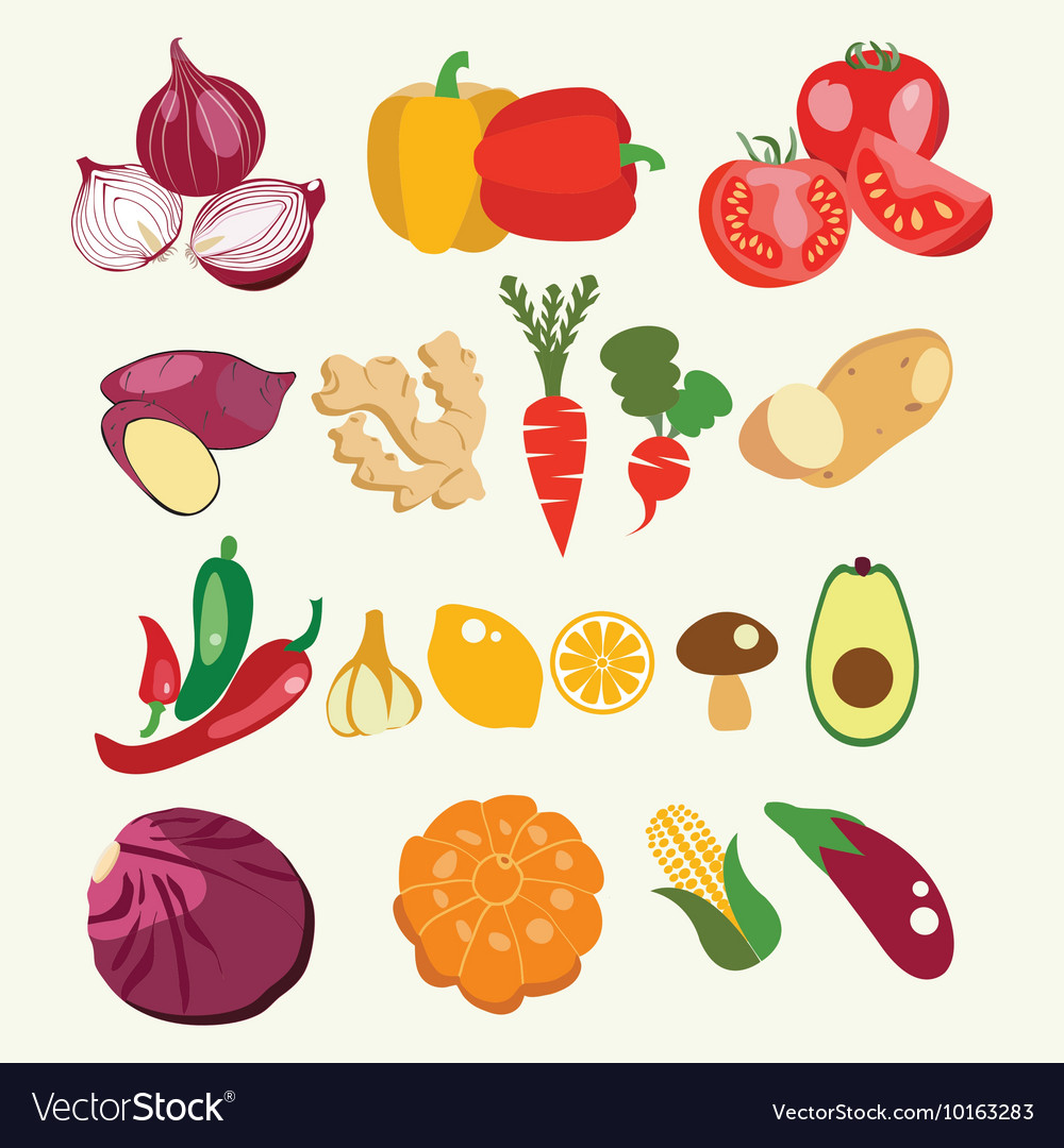 Fresh and healthy food Vegetables made in flat