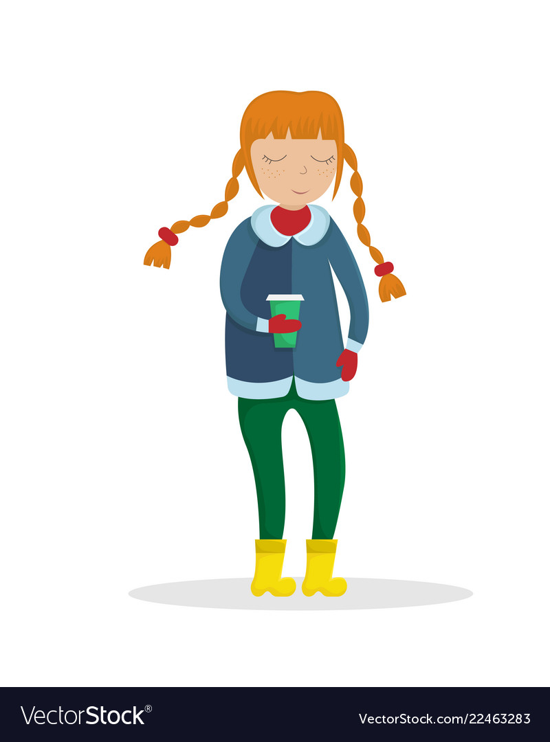 Girl in winter clothes with a cup of coffee